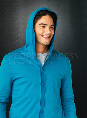 Buy stock photo Casual man wearing blue sweatshirt with hood