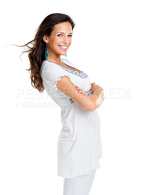 Buy stock photo Portrait of a beautiful young female model standing with folded hand against white background