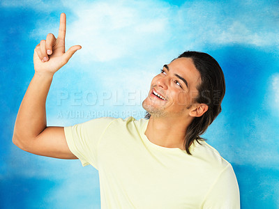 Buy stock photo Closeup of excited man points up