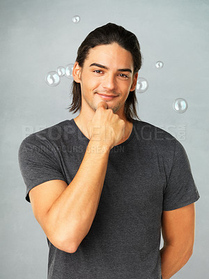 Buy stock photo Portrait of handsome man posing with hand on chin