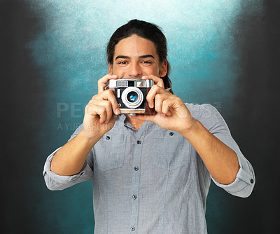 Buy stock photo Portrait of happy man holding camera