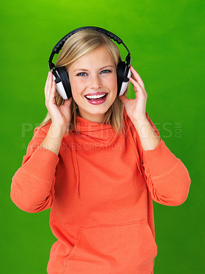 Buy stock photo Portrait of pretty woman with headphones on