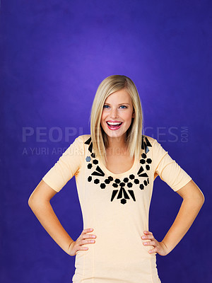 Buy stock photo Portrait of beautiful young woman with hands on waist