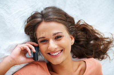 Buy stock photo Top view of girl smiling with phone