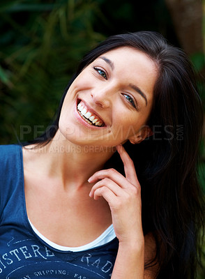 Buy stock photo Closeup portrait of a pretty young female model posing confidently