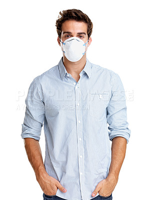 Buy stock photo Portrait of a young man wearing a surgical mask against white background