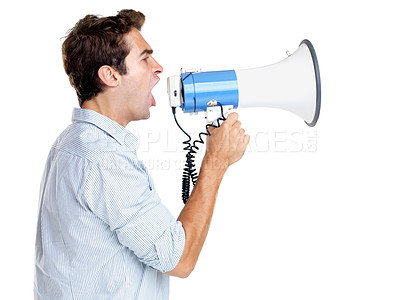 Buy stock photo Profile image of a young man shouting into a megaphone against white background