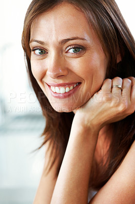 Buy stock photo Closeup portrait of an attractive young female smiling