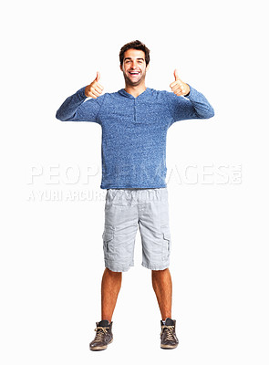 Buy stock photo Full length of a happy man giving you two thumbs up on white background