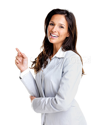 Buy stock photo Portrait of a cute young female entrepreneur pointing at copyspace against white background