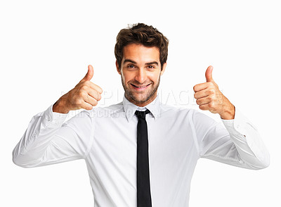 Buy stock photo Happy executive giving you two thumbs up on white background