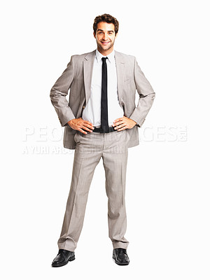 Buy stock photo Full length of a business man with hands on hips on white background