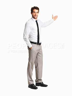 Buy stock photo Happy executive giving presentation on white background