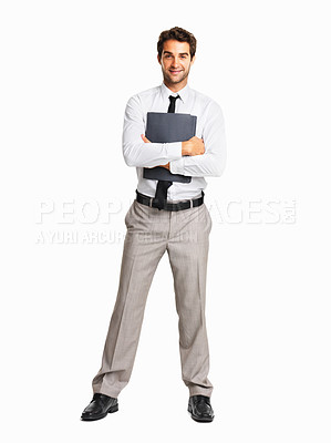 Buy stock photo Full length of an executive with folder on white background