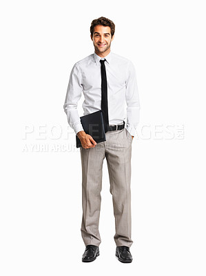 Buy stock photo Full length of happy business man holding folder on white background