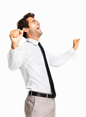 Buy stock photo Male executive screaming with joy on white background