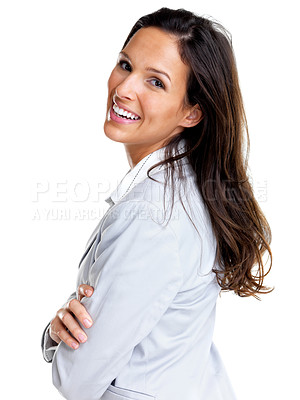 Buy stock photo Portrait of a confident young business lady standing with folded hand against white background