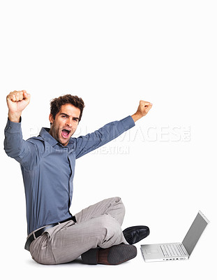 Buy stock photo Excited man with laptop throwing arms up in the air on white background