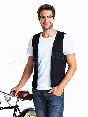 Buy stock photo Man with glasses dressed casually standing next to bicycle