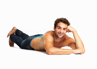 Buy stock photo Sexy muscular man lying on white