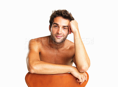 Buy stock photo Shirtless man listening in amusement