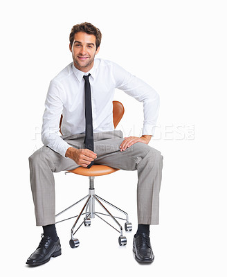 Buy stock photo Charming executive sitting in chair isolated on white background