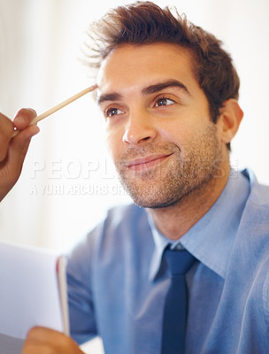 Buy stock photo Closeup portrait of confident man with pencil in hand thinking