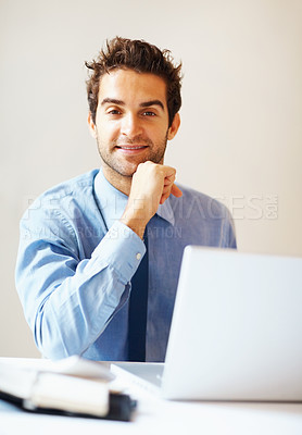 Buy stock photo Executive sitting in front of laptop