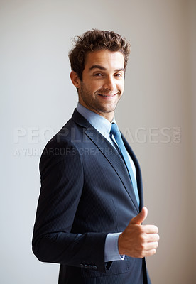 Buy stock photo Executive giving thumbs up