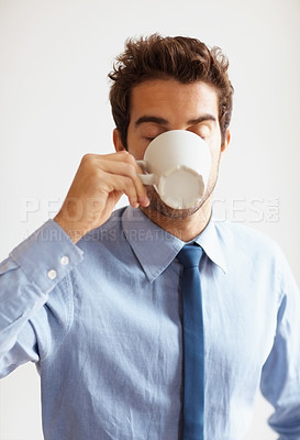 Buy stock photo Businessman drinking cup of coffee