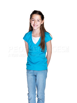 Buy stock photo Portrait of an adorable little girl standing against white background