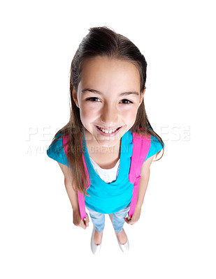 Buy stock photo Portrait of a sweet small girl standing with schoolbag against white background