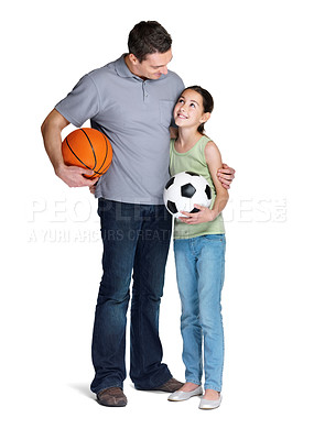 Buy stock photo Portrait of a young man standing with his daughter holding ball over white background