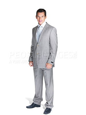 Buy stock photo Full length portrait of a happy young business man standing over white background