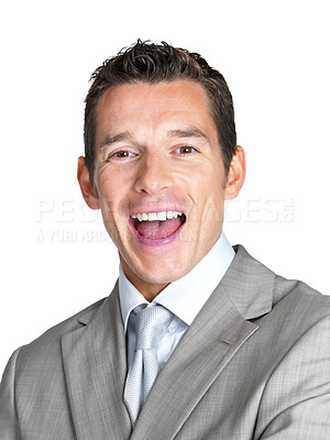 Buy stock photo Portrait of an excited young male business executive screaming against white background