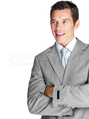 Buy stock photo Portrait of a confident young business man looking at something interesting against white background