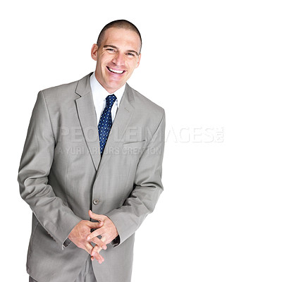Buy stock photo Portrait of a happy young male entrepreneur smiling against white background