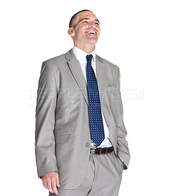 Buy stock photo Portrait of a joyful young business man looking at copyspace against white background