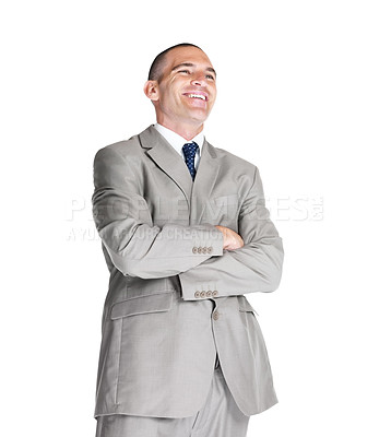 Buy stock photo Portrait of a confident young male entrepreneur looking at something interesting against white background
