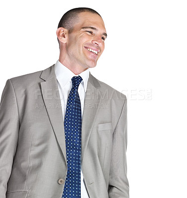 Buy stock photo Portrait of a handsome young business man looking at something interesting against white background