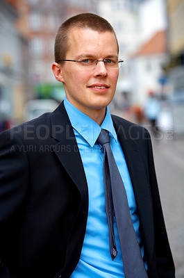 Buy stock photo Scandinavian looking businessman in Europe
