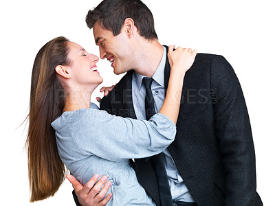 Buy stock photo Portrait of a sweet young couple enjoying themselves against white background