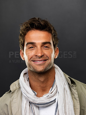 Buy stock photo Closeup portrait of smart man smiling on black background