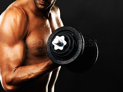 Buy stock photo Cropped view of man lifting weights on black background