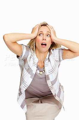 Buy stock photo Portrait of frustrated business woman holding her head on white background