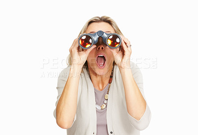 Buy stock photo Surprised business woman looking through binoculars on white background
