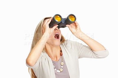 Buy stock photo Beautiful business woman surprisingly looking through binoculars on white background