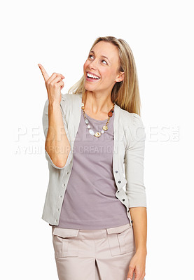 Buy stock photo Portrait of smiling business woman pointing up on white background