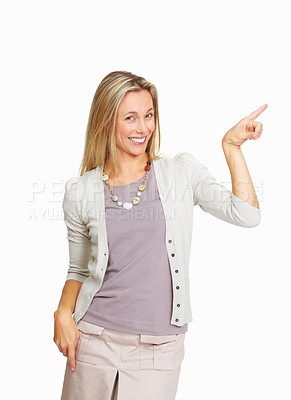 Buy stock photo Attractive business woman pointing while presenting on white background