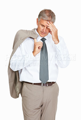 Buy stock photo Studio shot of a stressed out mature businessman against a white background